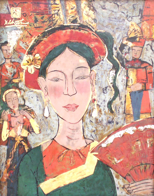 Vietnam lacquer painting by Le Xuan Chieu