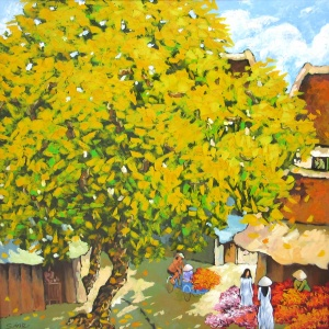 Duong Ngoc Son , vietnam artist , vietnam art , vietnam paintings , selling paintings , Spring