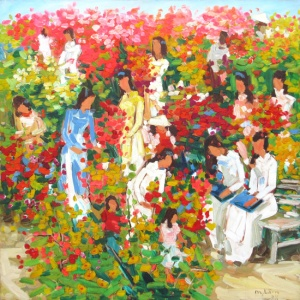 Lam Duc Manh , vietnam artist , vietnam painting , vietnam art , buy paintings online , flower market