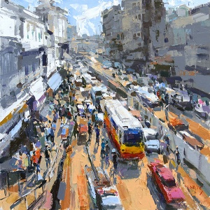 Rush Hour , Pham Hoang Minh , Vietnam arts , Vietnamese paintings