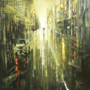 Saigon after rain , Tan Thieu , Vietnam artist , vietnam painting , vietnamese art , vietnam art