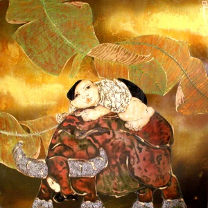 Tran Dinh Khuong , vietnam artist , vietnam painting , lacquer painting , kid , buffalo , banana leaves