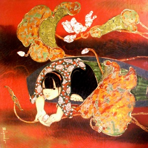 Tran Dinh Khuong , vietnam artist , vietnam painting , lacquer painting , lotus , girl