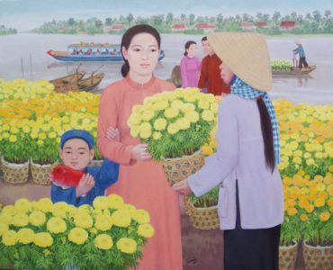 The Flower Market in Tet Holiday